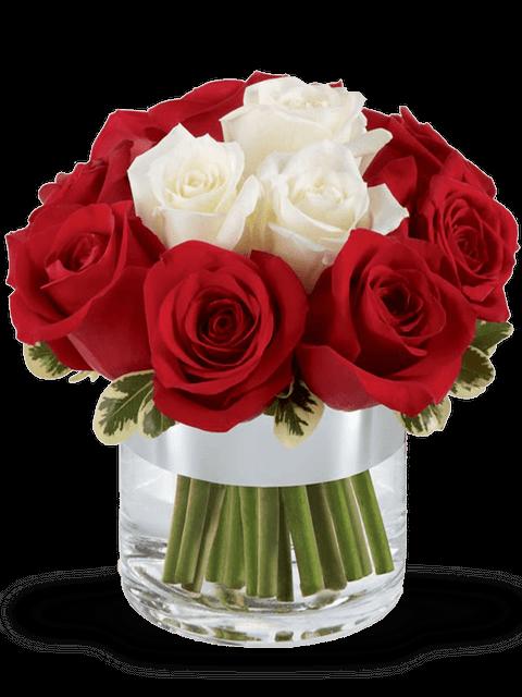 bouquet di rose rosse e 3 rose bianche