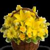 cesto di lilium con rose gialle