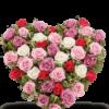 cuore di rose rosse e bianche