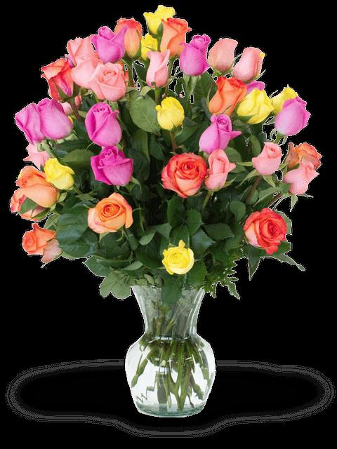 mazzo di rose colorato