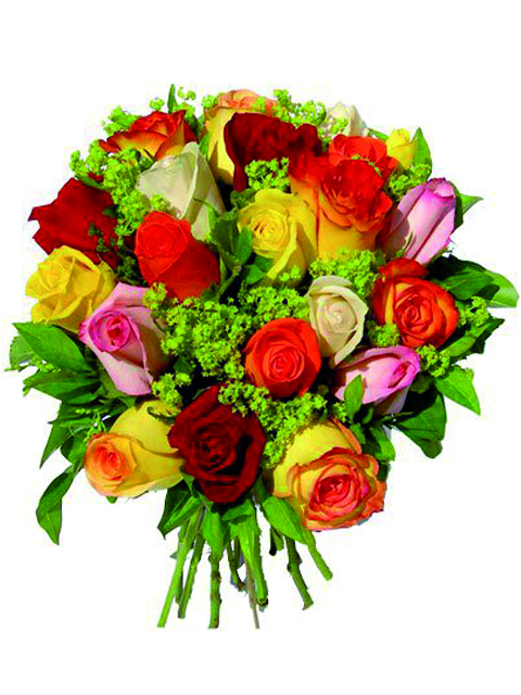 bouquet di rose multicolore