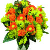 bouquet rose gerbere con mimosa