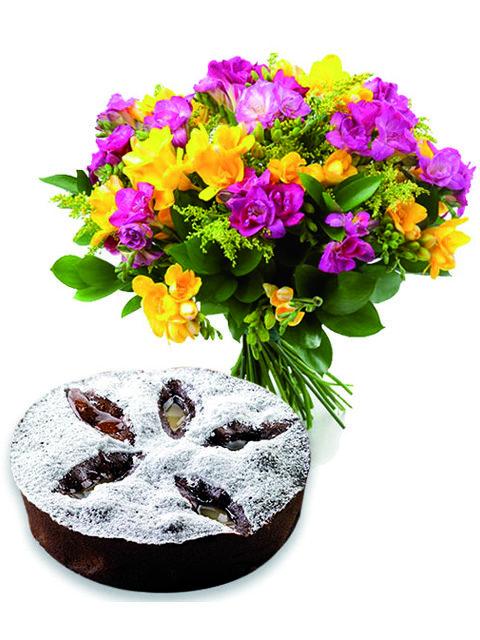 bouquet di lisantius con torta al cioccolato e pere