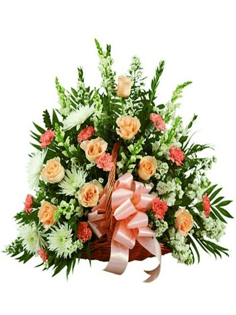 cesto funebre di fiori misti