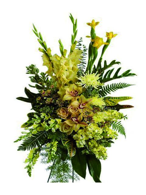 cuscino funebre orchidee e fiori misti