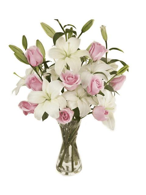 mazzo di gigli bianchi e rose rosa
