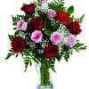 mazzo di rose rosse e rose rosa